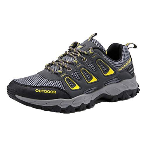 Shaoyao Herren Wanderschuhe Verschleißfester Schlupf Hohl Atmungsaktiv Trekking Schuhe Turnschuhe Socken schicken Grau 44 EU