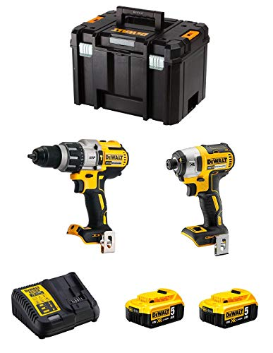 DeWALT Kit DWK224 (Trapano a Percussione DCD996 + Avvitatore ad Impulsi DCF887 + 2 Batterie 5,0 Ah + Caricabatterie + TSTAK VI)