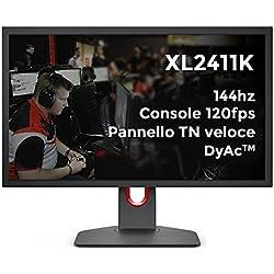 BenQ ZOWIE Xl2411K Monitor da Gioco 24 Pollici 144Hz, 1080P, Ps5 e Xbox 120 Fps, Pannello Tn Veloce, Dyac, Black Equalizer, Color Vibrance