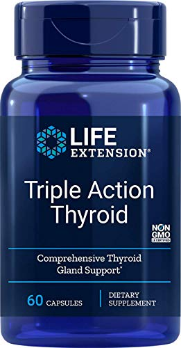 Life Extension, Triple Action Thyroid, Unterstützung der Schilddrüse, 60 vegetarische Kapselnn
