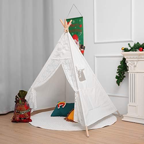 little dove Tipi Zelt - 100% natürliches Baumwollsegeltuch-Spiel-Zelt für Kinder - Komm mit Matratze