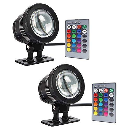 GOESWELL Tauch-Teichleuchten LED-Unterwasserstrahler 2Pack DC12V 10W Springbrunnen im Freien mit Fernbedienung, 16 Farben einstellbar, Flutgartenscheinwerfer Landschaft Außenbeleuchtung