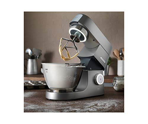 Kenwood Chef Titanium Stand Mixer for Baking - Powerful and Stylish Kitchen Machine in Silver, with K-beater, Dough Hook, Whisk and 4.6 Litre Bowl, 1500 W, KVC7300S, Silver