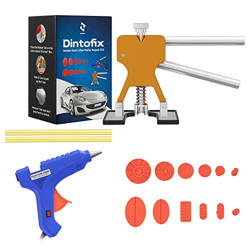 Dintofix Car Dent Repair & Remover Tool Set- Paintless Dent Removal Kit With 12 Rubber Tabs & Glue Gun- Car Tool Kit- Easy Car Dent Remover Kit