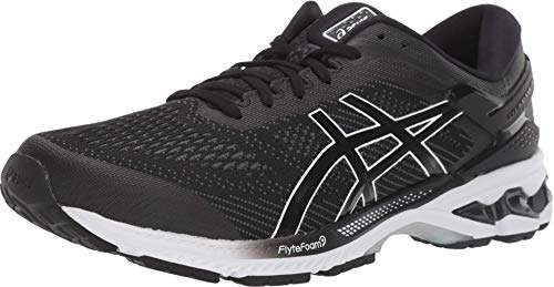 ASICS Men's Gel-Kayano 26 Running Shoes, 10.5M, Black/White