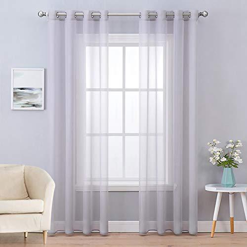 MIULEE 2 Panneaux Couleur Pure Rideaux De Fenêtre Transparents Lisse Élégant Panneaux Voile De Fenêtre/Rideaux/Traitement pour Chambre Salon Gris Clair 140x245cm