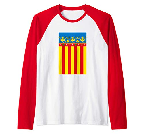Flag Of Valencia Spain Souvenir Vertical Royal Senyera Camiseta Manga Raglan