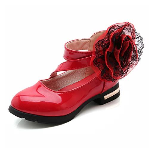 Scarpe Bambina Ragazze Mary Jane Basse Ballerine Principessa Anti Scivolo (26 EU, Rosso)