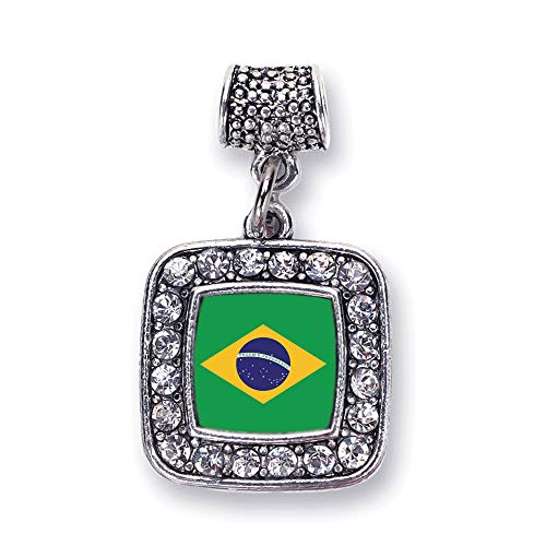 Inspired Silver - Brazilian Flag Memory Charm for Women - Silver Square Charm for Bracelet with Cubic Zirconia Jewelry