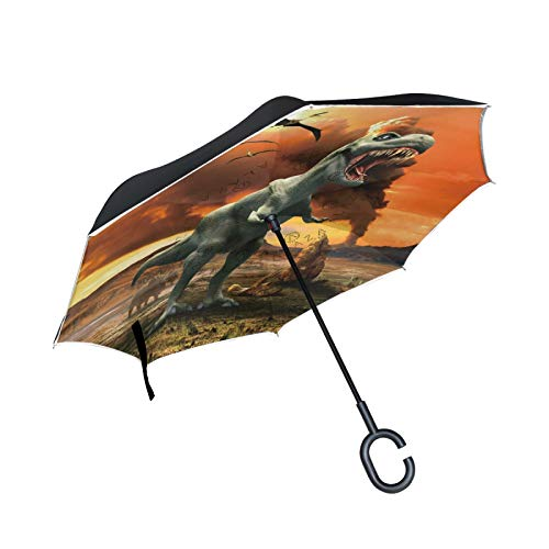 Dinosaurios Antiguos Batalla Fuego Paraguas Invertido Doble Capa Inverso Reverso con Mango en Forma de C Paraguas de Plegado para Automóviles en Exteriores