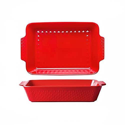 Fuente para horno Juego de artículos para hornear, plato de cerámica de 2 piezas, bandejas rectangulares para hornear, plato de cazuela oblongo para cocinar, cena de pastel, cocina Fuente para Horno P