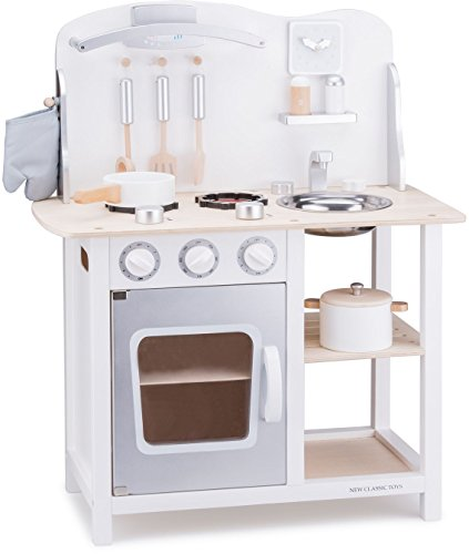 New Classic Toys Toys-11053 Kitchenette - Bon Appetit - White/Silver, Color Blanco...