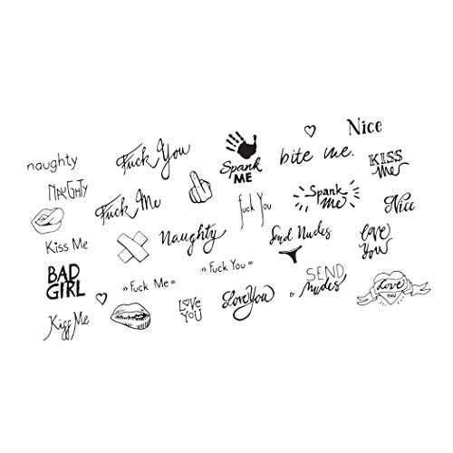 Neva Nude FOOK YU SOUP Naughty Words and Symbols Large Temporary Tattoo Pack | Body Decoration for Festivals, Raves, and More