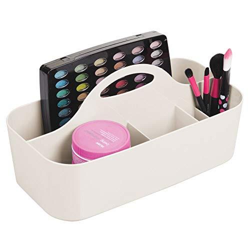 mDesign Cesta de ducha con 6 compartimentos – Caja con asa portátil en plástico para productos de belleza – Organizador para baño para guardar brochas de maquillaje, pintaúñas, cuchillas y más – crema
