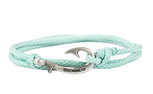 Chasing Fin Adjustable Bracelet 550 Military Paracord with Fish Hook Pendant (Turquoise Diamonds)