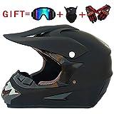 Casco de Descenso para Adultos Regalos Gafas máscara Guantes BMX MX ATV DH Carrera en Bicicleta de Cara Completa Casco Integral,A,M(56~57) CM
