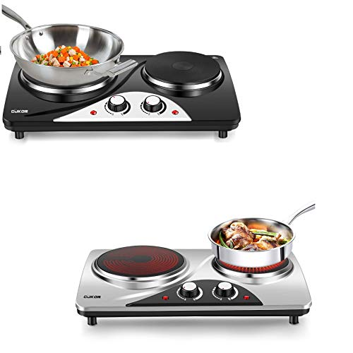CUKOR Electric Hot Plate, 1800W Portable Electric Stove,Double Burner,Heat-up In Seconds,7.1 Inch Ceramic Glass Double Hot Plate Cooktop for Dorm Office Home Camp, Compatible w/All Cookware