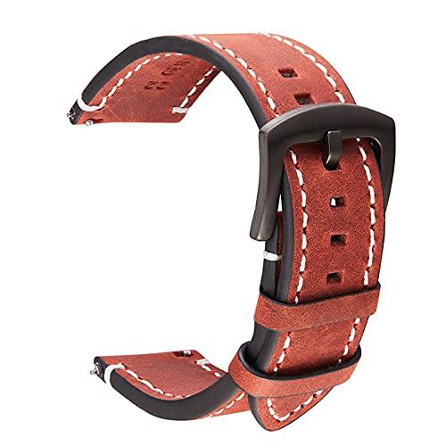 Vaca Cuero Correa de 18mm 20mm 22mm 24mm Cuero auténtico Reloj de Pulsera de la Vendimia de la Banda Correa del cinturón, Rojo marrón, 18mm