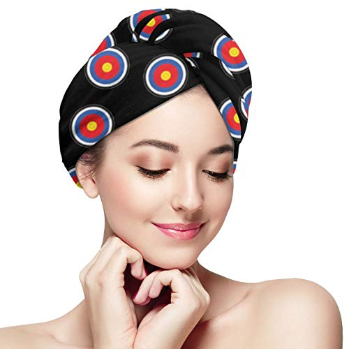 Archery Target Microfiber Hair Towel Wrap With Button Quick Dry Hair Turban For Women Girls