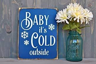 Ral454ick Baby zijn Koude Buiten - Blauwe Sneeuwvlok - Winter Decor - Open haard Decor - Winter Decoraties - Open haard tekenen - Baby zijn Koud Buiten Teken