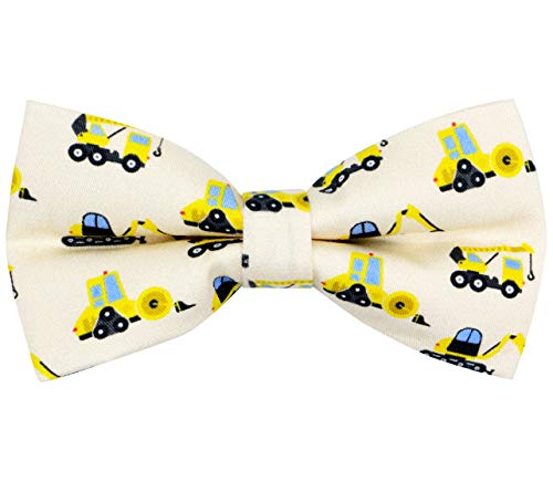OCIA Cotton Cute Pattern Pre-tied Bow Tie Adjustable Bowties for Mens & Boys Construction Vehicle