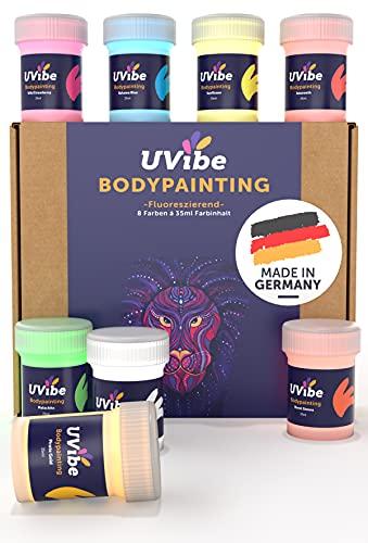 Bodypainting Farben - 8x Coole Schwarzlicht Farbe MADE IN GERMANY - Neon Farben Haut leuchten Tag und Nacht - Fluoreszierende Schminke als Body Paint - Bunte Körpermalfarben - UV Farbe...