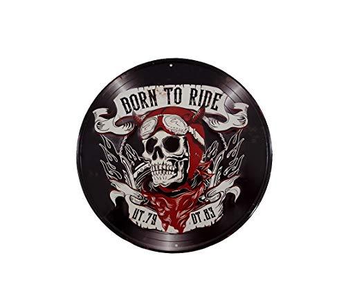 LB H&F Blechschild Retro Nostalgie Motorrad Hell Skull Biker Tür Schild RUND Blechschilder - Ø 30 cm