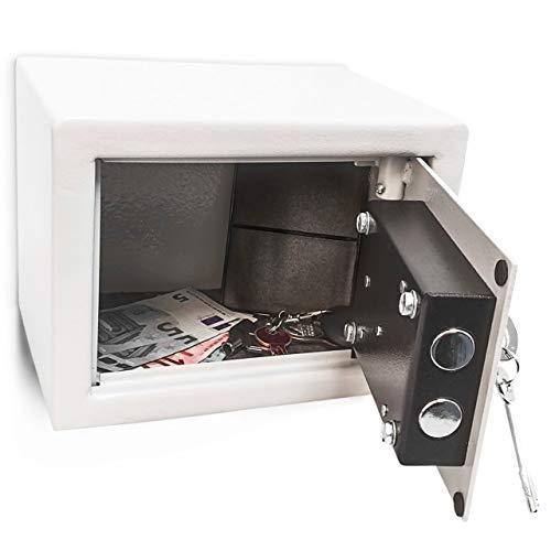 Relaxdays Mini Wandtresor, Schlüssel, Stahl, massiv, Verschlussriegel, Kleiner Safe H x B x T: 17 x 23 x 17 cm, hellgrau