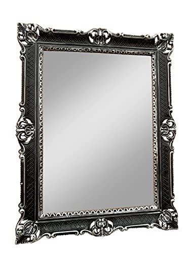 3057 - Espejo de pared (90 x 70 cm), diseño barroco, color negro y plateado