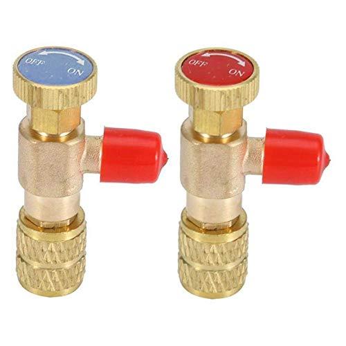 Válvulas de solenoide, 2 piezas de cobre Válvula de seguridad R22 R410 cobre Plus Liquid Seguridad Refrigeración Accesorios Válvula de llenado,Válvulas