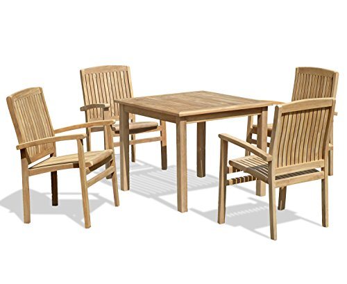 Jati Hampton Square Garden Table 0.9m and 4 Cannes Teak Stacking Chairs Brand, Quality & Value