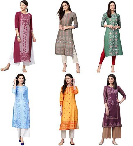 Vaamsi Women's Printed Polyester Straight Kurta Combo (Pack of 6) (COPK(1593-1670-1675-1704-1806-1898)_S_Multicoloured)