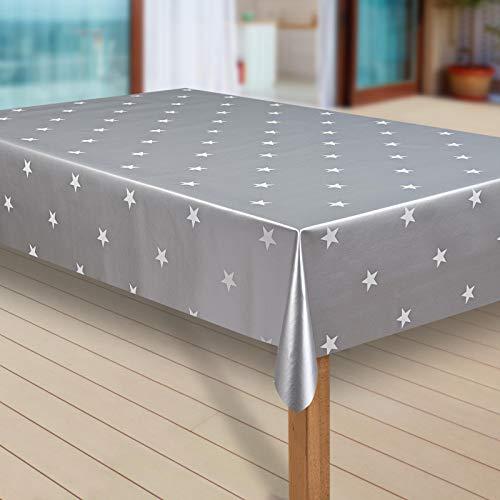 laro Wachstuch-Tischdecke Sterne Weihnachten Weihnachts-Motive PVC Wachstischdecke Eckig Meterware Wasserabweisend Abwischbar 1083, Größe:100x140 cm, Muster:Grau Sterne weiß