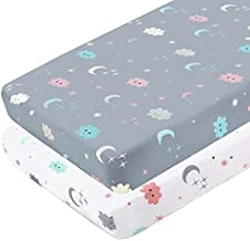 Yoofoss Fitted Crib Sheet Set 2 Pack Baby Sheets for Standard Crib Toddler Mattress Cover Soft Microfiber Breathable Mattress Cover for Boys and Girls 28x52x9in White&Grey