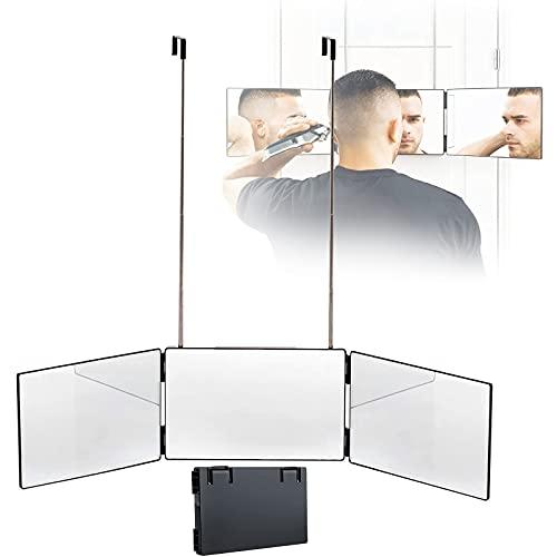 PEALOV Self Cut Mirror 360 3 Side,3-Wege-Spiegelsystem,360 ° Friseurspiegel,DREI Seitenspiegel Zum Selbstschneiden Der Haare Mit HöHenverstellbaren Teleskophaken,FüR Handgefertigten Self Hair Cut