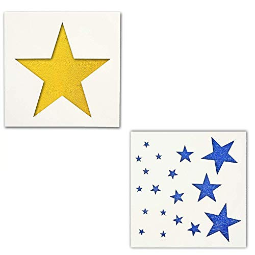 """Star Stencils- 2 Pack 7"""" INCH Star Templates   5 Point Stars in Small, Medium, Large Assortment   25 Mil Mylar Stencil Template for Tile Wall Decor Art   Thick, Durable, Multi-Use and Long Lasting"""
