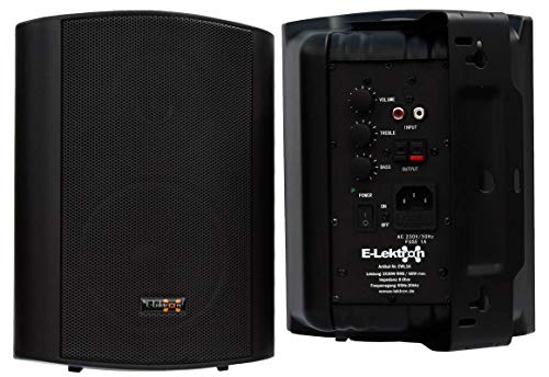 "E-Lektron EWL5A Stereo Aktiv Lautsprecher Paar inkl. Wandhalter - 5\"" 2X 60W Schwarz"