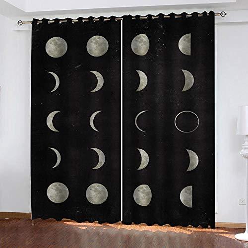 LWXBJX Cortinas Opacas Dormitorio Termicas - Patrón de gradiente de Luna - Impresión 3D Aislantes de Frío y Calor 90% Opacas Cortinas - 234 x 230 cm - Salon Cocina Habitacion Niño Moderna Decorativa