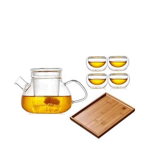 Teteras Alta de Alta Temperatura del Borosilicate, 4Cups, Sistema de té de bambú TrayThick, Taza aislada Doble, Filtro de Cristal, Filtro del Corte de la Mano JXLBB