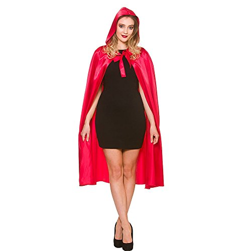 Adult Ladies Halloween Red Short Satin Hooded Cape Fancy Dress Accessory 43�