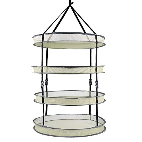 VIPARSPECTRA 2-ft 4-Layer Collapsible Breathable Mesh Herb Drying Rack for Buds & Hydroponic Plants with Sturdy Support