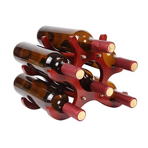 LMZX Estante de Madera para Vino, Soporte para Almacenamiento de 6 Botellas, Independiente, pequeño tamaño Compacto, Ahorra Espacio en la encimera para cumpleaños, Bodas