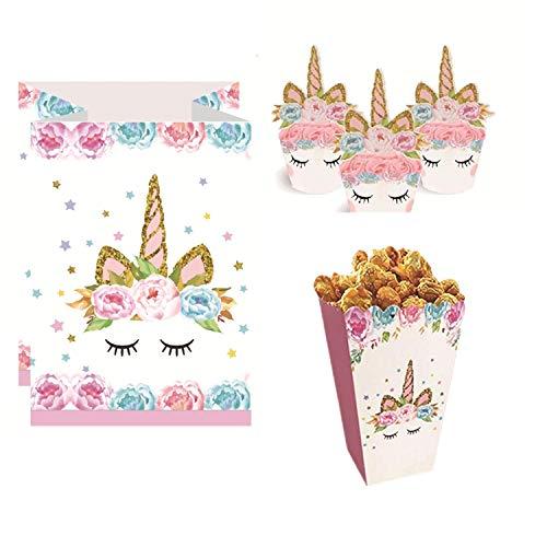 Topways Papas fritas dulces de Paper Candy, bolsas de bocadillos de palomitas de maíz, aderezos y envoltorios de cupcake de unicornio para la fiesta de cumpleaños de la fiesta temática Unicornio