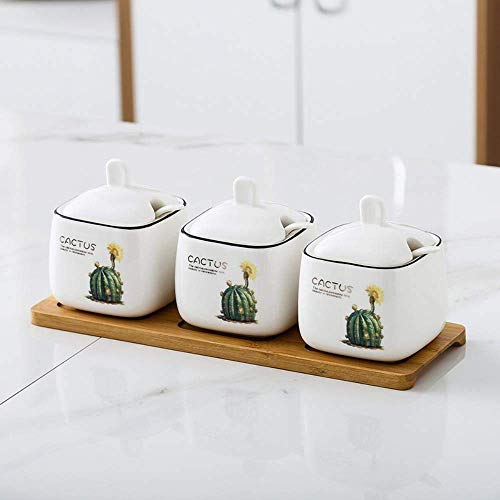 ZFFSC Huishoudelijke Vierkante Keramische Kruidenpot Set, Keuken Bloem Kruiden Doos Kruiden Fles Keuken Msg Zout Shaker Suikerkom Opslag Boxover met 3 + 3 eetlepels Lade -X De kruiden fles