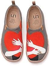 UIN Women's Warm Heart Breathable Canvas Sneaker Slip ons Walking Shoes (37)