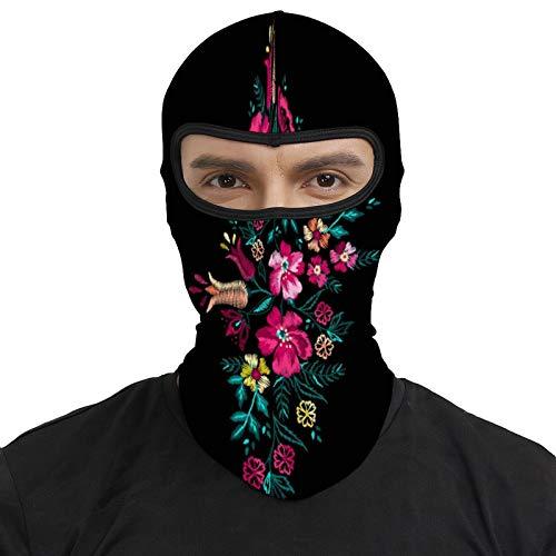 DKE&YMQ Pasamontañas resistente al viento máscara facial transpirable para casco de motocicleta unisex hombres y mujeres, patrón azul colorido arte botánica