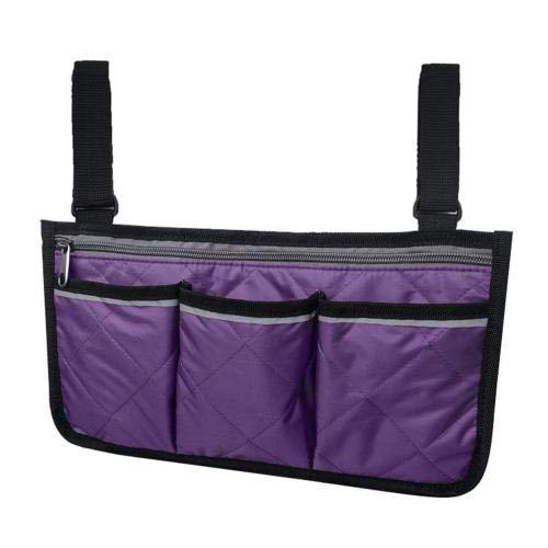 Rollator Walker Bags Electric Scooter Wheelchair Side Pouch Storage Bag - Chair Armrest Pocket Organizer Holder Purple32.5*18cm