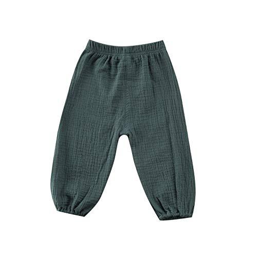 Bambino Neonata Ragazzo Cotone Lino Pantaloni Lunghi Pantaloni Elastico In Vita Leggings Fondelli Casual Eelastic Harem Bloomers Verde 1-2 Anni