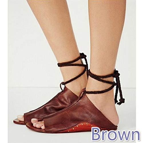 WTFYSYN Zapatos de Piscina Zapatos de Agua para baño,Sandalias de Mujer de Fondo Plano y Talla Grande, Zapatos de Playa Antideslizantes de Fondo Suave-Rojo-marrón_42