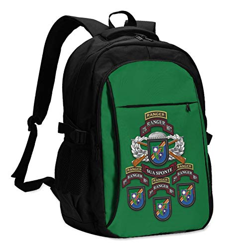 75th Ranger Regiment Distinctive Unit Insignia Man's Woman College Students Women & Men Backpack with USB Charging Interface Daypacks
